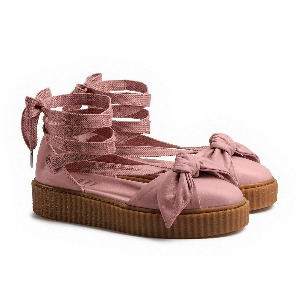 Puma Fenty Bow Creeper Creeper Creeper Sandal Womens 6.5 Ankle Laced Rihanna Pink Silver Leather 7d0032