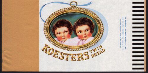 Vintage bread wrapper KOESTERS twin babies pictured 1945 Baltimore unused n-mint