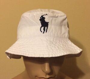 0d10edbdf6c1e Image is loading Polo-Ralph-Lauren-bucket-hat-Small-medium-White-