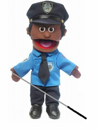 Silly Puppets Policeman (African American) Glove Puppet Bundle 14 inch w/Arm Rod