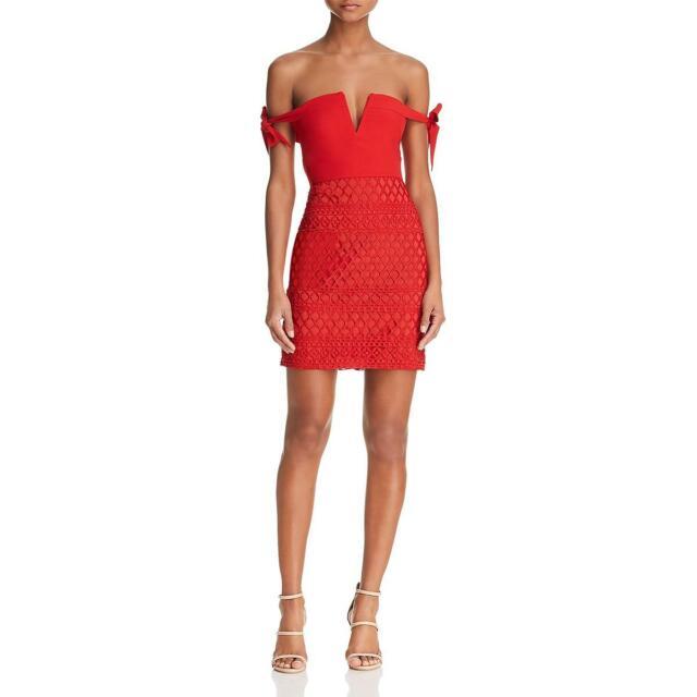 Stylestalker Womens Jackson Lace Off-The-Shoulder Party Mini Dress BHFO 9020