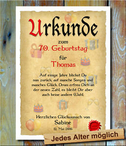 Urkunde Geschenk 70 Geburtstag Individueller Name Spruch