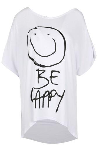 Ladies Oversize SMILEY BE HAPPY Women Round Neck Baggy Batwing Hi Lo T Shirt Top