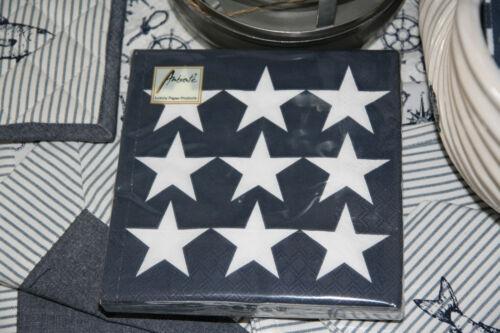 * Servietten 33x33cm Ambiente Blau Dunkelblau Sterne Stern Maritim Sommer