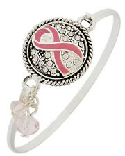 Silver Tone Breast Cancer Awareness Pink Ribbon Crystal Bangle