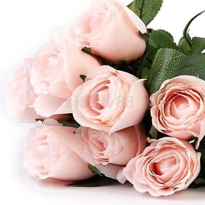 1x Artificial Rose 11 flower heads Bouquet Home Bridal Wedding Light Pink