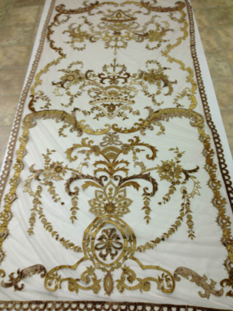 Italian Embroidered Ready Made Sheer Neron Gold  Curtains