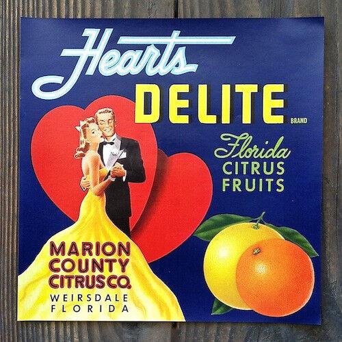 Vintage Original HEARTS DELITE CITRUS FRUIT Crate Box Label 1940s NOS
