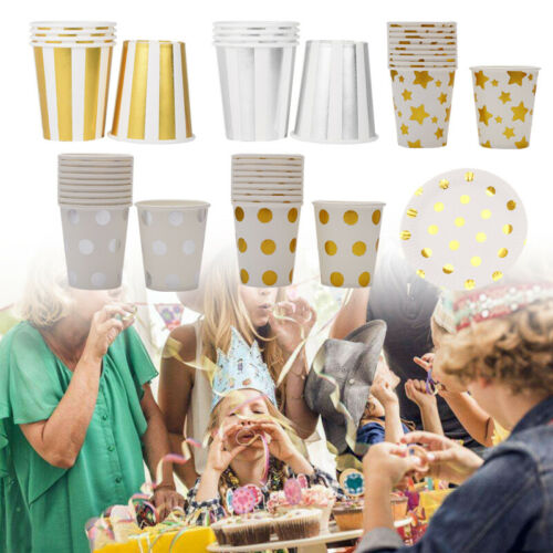 10pcs Plates Cups Gold Foil Star Paper Tableware Disposable Home Wedding Party