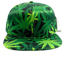 MARIJUANA ALL OVER FLORAL PRINT SNAPBACK HAT CAP WEED LEAF CANNABIS FLAT BILL