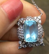 5.79ct Natural Earth Mined Santa Maria Aquamarine gem Sterling SilverCZ Necklace
