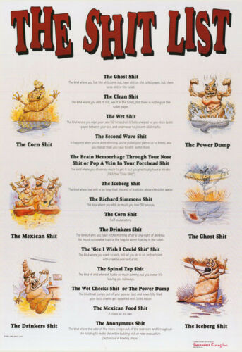 FREE SHIP   #3056     LP38 i THE SH*T LIST SIGN COMICAL LOT OF 2 POSTERS