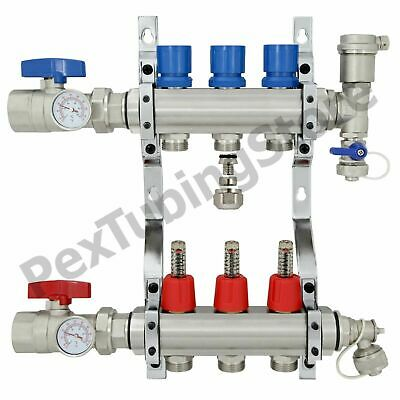 "4-Branch PEX Radiant Floor Heating Manifold Set Brass for 3//8"" 1//2"" 5//8"" PEX"