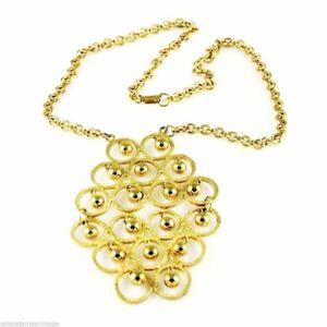 Vintage-Necklace-W-Huge-Dangly-Fluttery-Goldtone-Pendant-1960S
