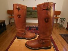 Vtg CHIPPEWA Tall Men's Brown Leather Engineer, Snake, Hunting Boots 8.5EE  USA