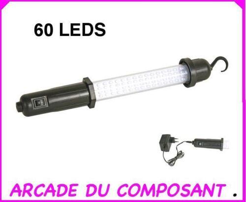 poids 1,400kg ref 74085-1 LAMPE BALADEUSE TORCHE RECHARGEABLE AVEC 60 LEDS