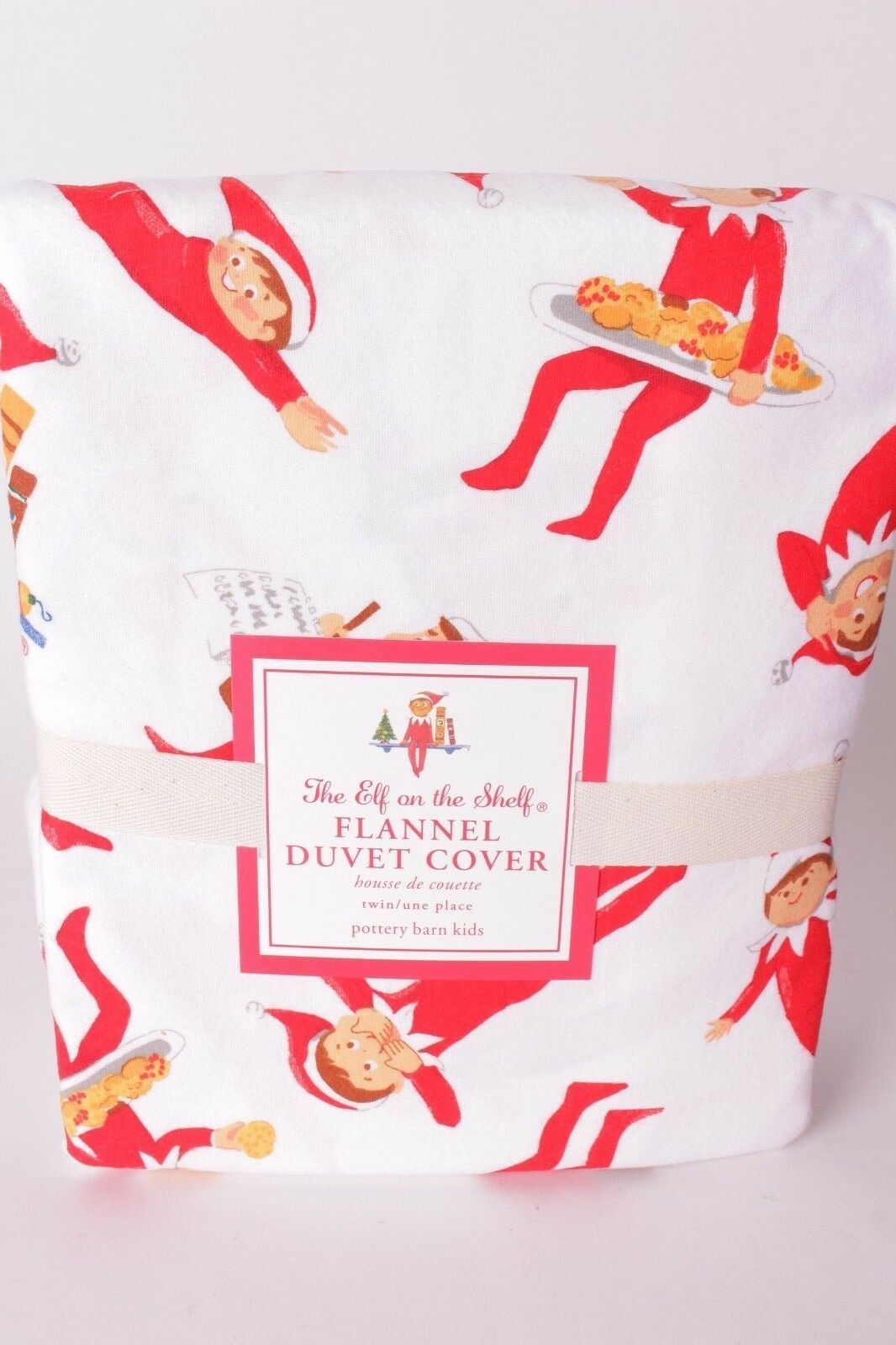 NWT Pottery Barn Kids Elf on Shelf Christmas flannel twin duvet cover