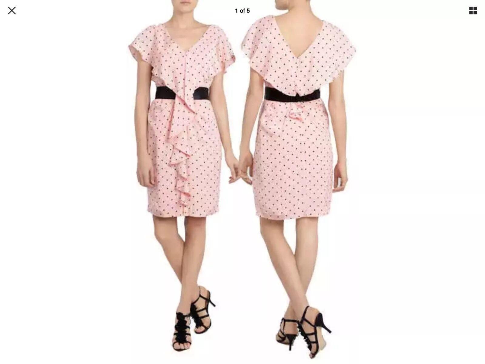 Coast Amelia Pois Peach Dress Dress Dress EU 40 US 8 Nuove  (A1) 5513c0