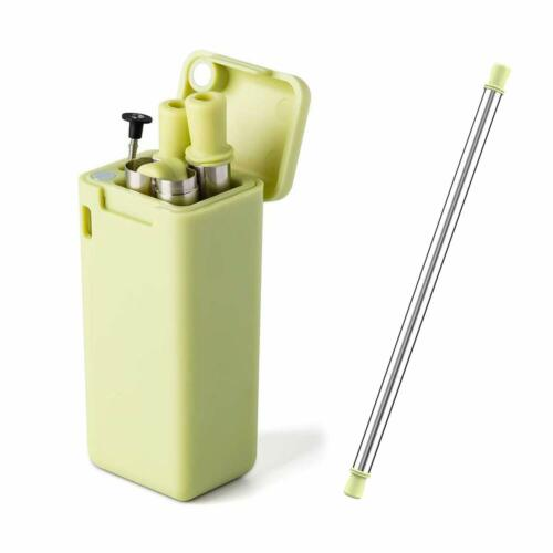 Brush UK Collapsible Folding Eco Friendly Metal Straw Reusable Straw Case