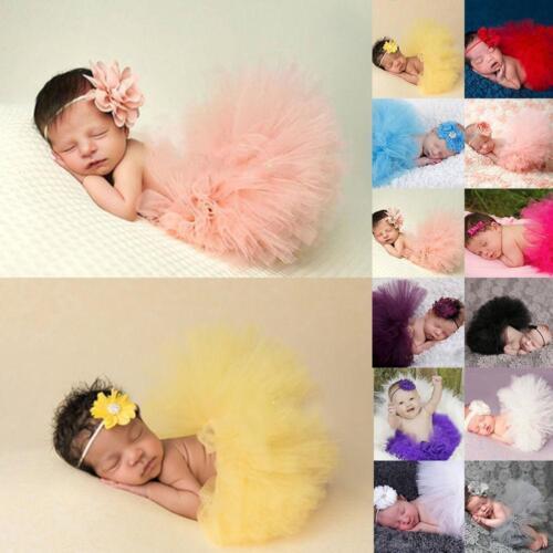 Baby Girls Newborn Mesh Tutu Skirt /& Headband Outfit Set Photo Prop Costume LC