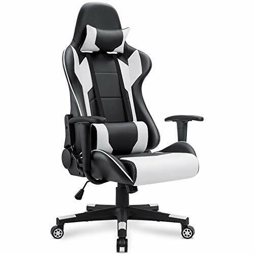 BEST Comfy Racing Style Leather Swivel Gaming Chair w  Lumbar Support & Headrest