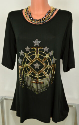 Schwarz 44-56 Extravagante Edle Sommer Tunika Shirt Glitzer Steine Ecru Gr