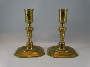 Nice pair of solid brass candlesticks 17th century