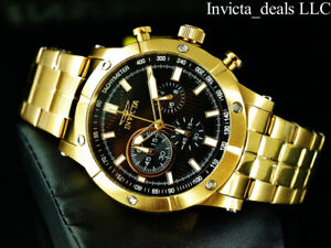 NEW-Invicta-Men-039-s-47mm-Specialty-Chronograph-18K-Gold-Plated-Black-Dial-SS-Watch