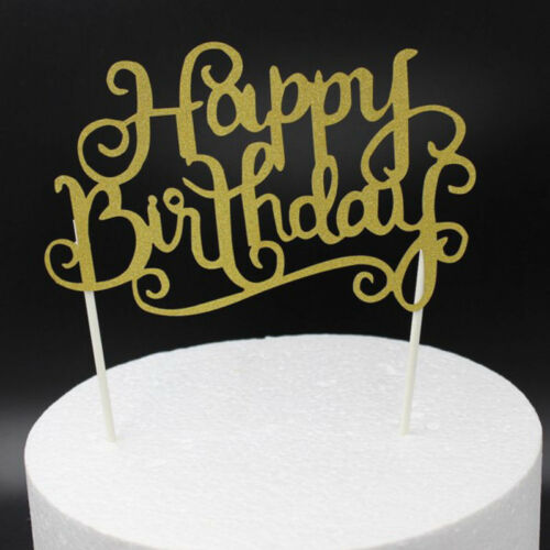 Gold Happy Birthday Cake Topper Glitter Party Parties Event Decorations Hot Sale