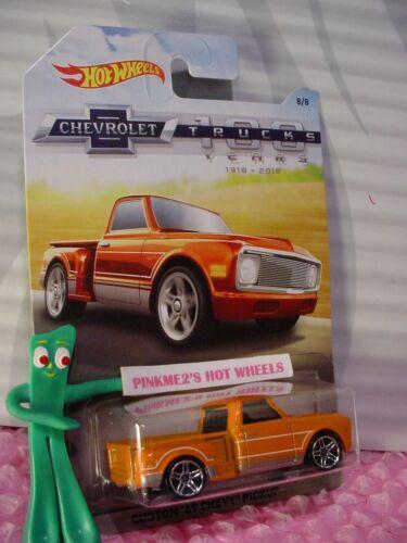 CUSTOM /'69 CHEVY PICKUP #8☆orange☆2018 Hot Wheels WALMART CHEVROLET TRUCK 100 YR