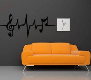 Musiknoten Heartbeat Musik Wandtattoo Wallpaper Wand Schmuck 60 x 29 cm