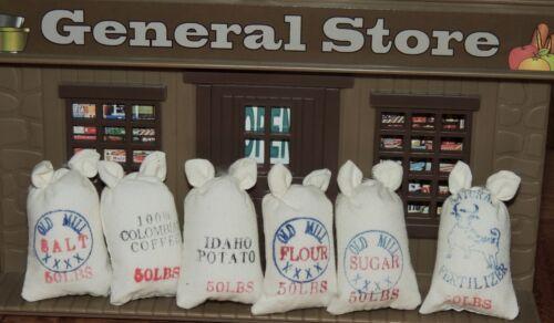 SIX 50 LBS FOOD SACKS  1:12 Scale DRY GOOD MARKET STORE DOLLHOUSE MINIATURE