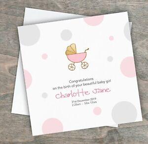 Personalised New Baby Girl Card Newborn Baby Girl Card Congratulations on your New Baby Girl Card.