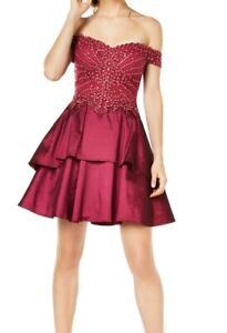 City Studio Dress Red Size 5 Junior A-Line Embroidered Off Shoulder $129- #063