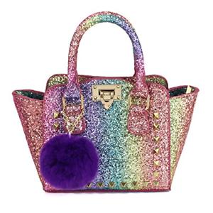 Ma première partie de Shinny Glitter Rainbow Sac à main Little Girls Toddlers Mini Tote Poms