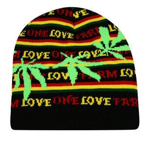29f8245ce Details about Rasta Pull On Beanie Bob Marley Lion Of Judah One Love  Marijuana Leaf Cap Hat