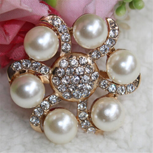 1PC Women Shoe Decoration Clips Crystal Pearl Shoes Buckle Wedding Decor Sa