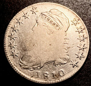 1810 Capped Bust Silver Half Dollar 50c Better Early Date O-103 Variety Full Lib
