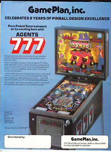 GAME PLAN Agents 777 pinball flyer brochure pamphlet. Year 1984.