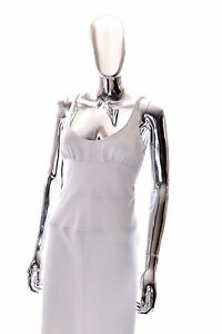 Details about Narciso Rodriguez Paneled White Italian Silk Slip Sheath  Dress Womens SIze 8 42