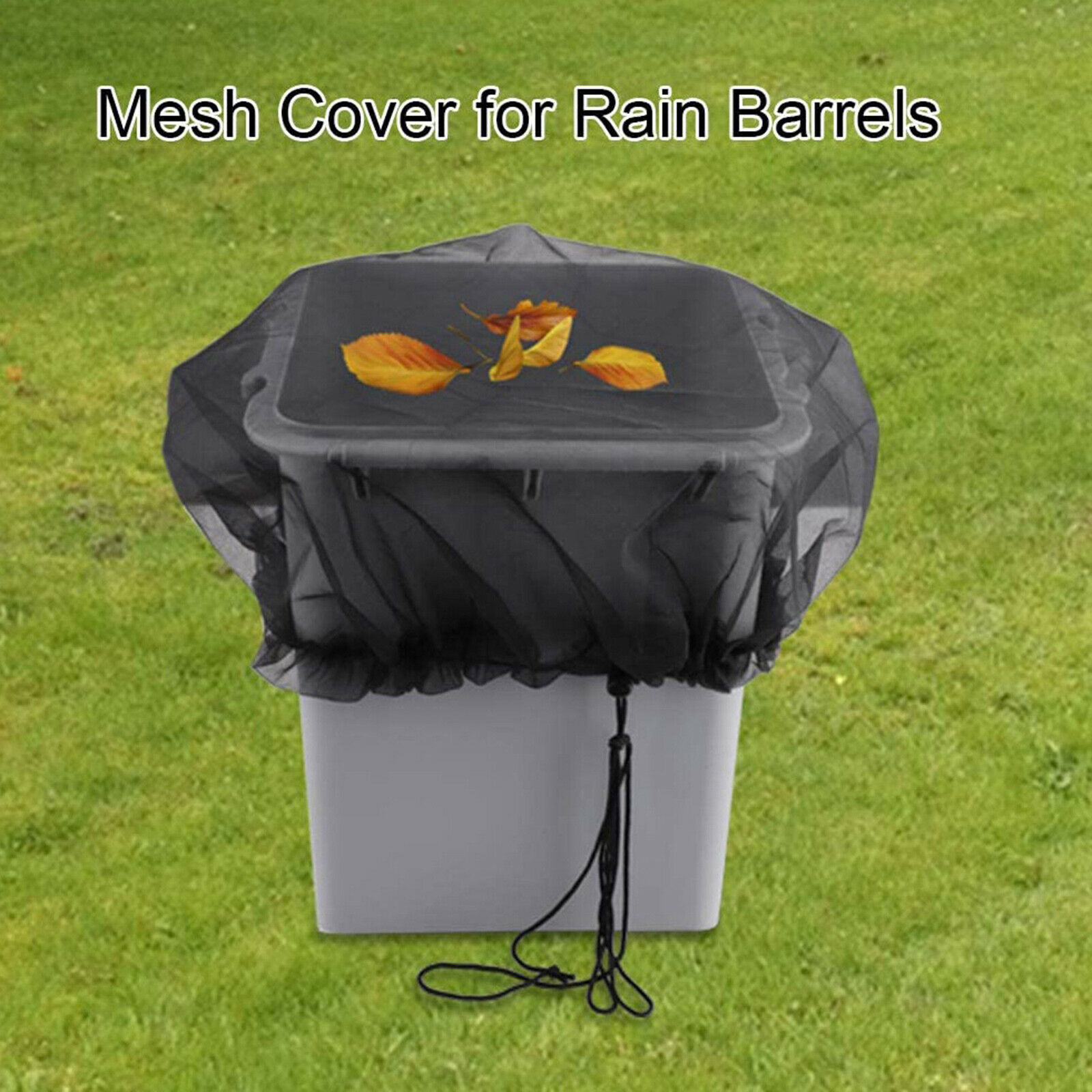 Outdoor Mesh Cover Buckets Cover Protector for Rain Barrels with Draw String