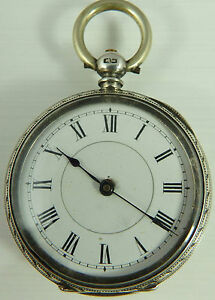Antique-Swiss-silver-engraved-Ladies-fob-watch-Not-Fully-Working-Needs-Repair