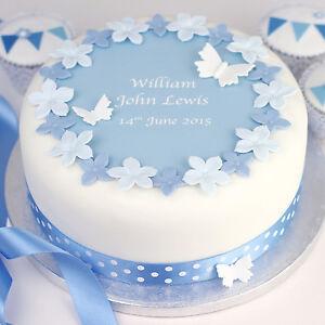boys christening cake kit personalised edible decoration cake      rh   ebay co uk