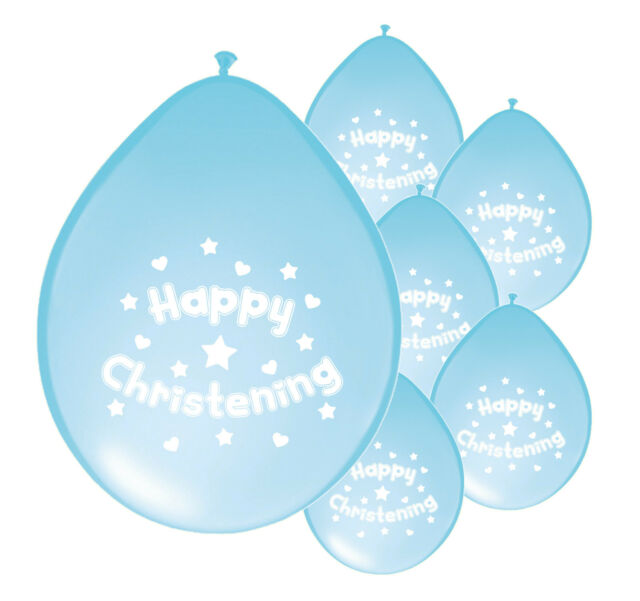 "10 x BABY BOY CHRISTENING BLUE BALLOONS 10"" AIRFILL PARTY DECORATION (PA)"