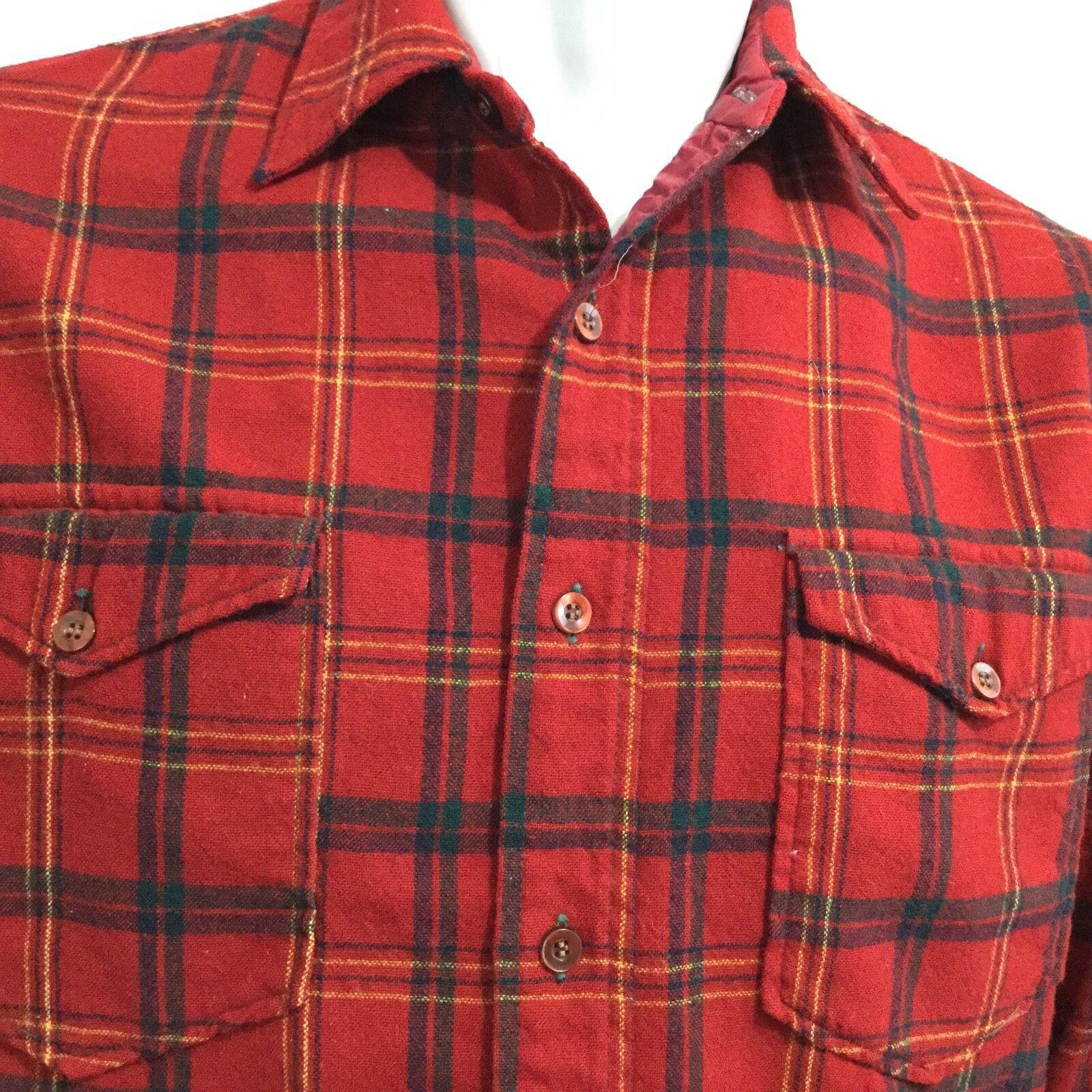Vtg Pendleton Flannel Board Shirt Sz 15 1 2 Red Buffalo Plaid Tartan USA Wool