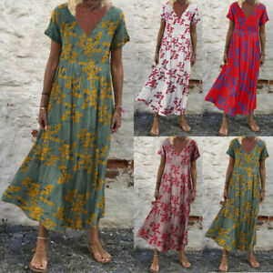 Womens Summer Bohemia Floral Sundress Cocktail Party Flare Swing Long Maxi Dress