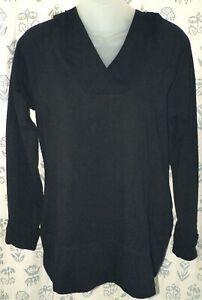 CASCADE SPORT Women's Large Black Stretch Cotton Hooded LS Top Tee Shirt EUC