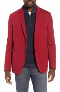 Bugatchi Mens SportCoat Crimson Red Size 44 Two-Button Knit Solid $499- 060