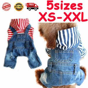 Denim-Dog-Jumpsuit-Stripe-Jeans-Pet-Puppy-Cat-Comfortable-Four-Foot-Dog-Clothes