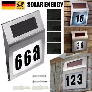 Solar Hausnummer Beleuchtung 2 LED Hausnummernleuchte Lampe Glas Edelstahl DHL